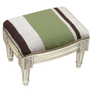 Stripes Wool Needlepoint Upholstered Ottoman