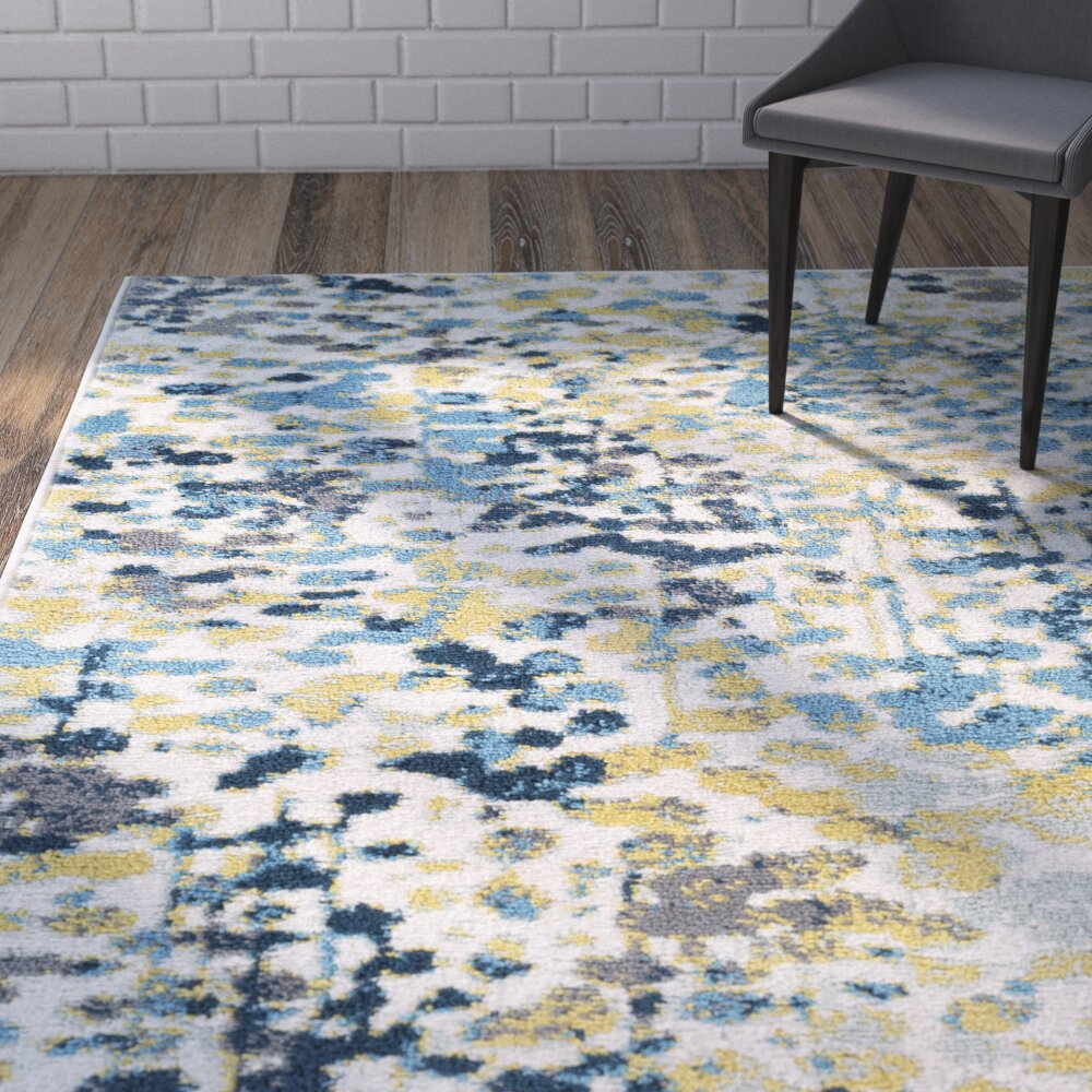 Wrought Studio Ladson Yellow Blue Area Rug Reviews Wayfair