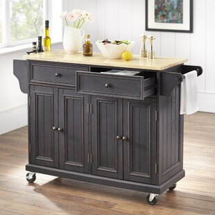Mckinnis Kitchen Island with Solid Wood Top