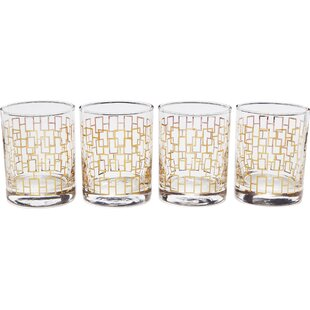 Gold Chain Link Decaled 11.85 oz. DOFs Glass (Set of 4)