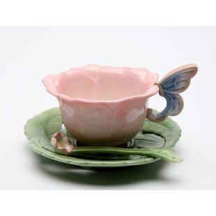 Ramey Pink Rose Cup and Saucer Procelain Set (Set of 2)