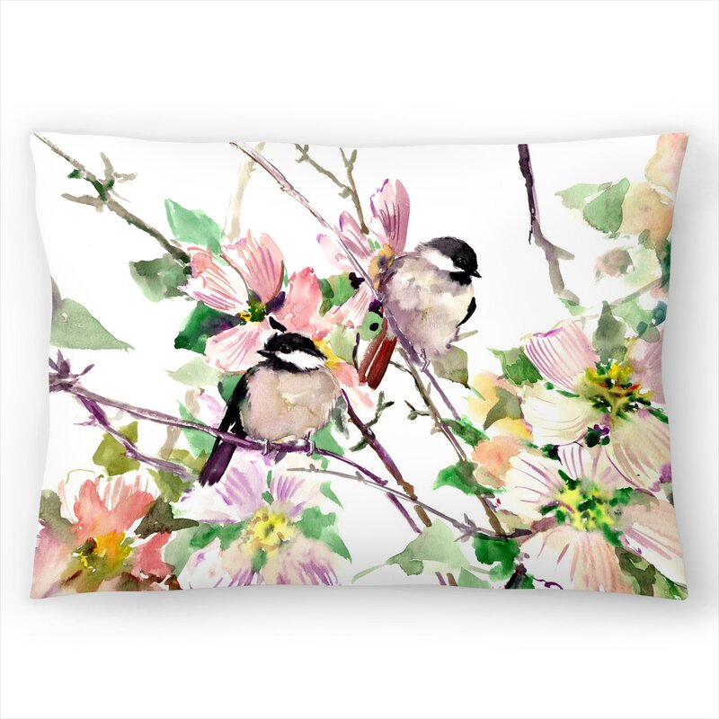 East Urban Home Suren Nersisyan Chickadees And Dogwood Flowers 1 Lumbar Pillow Wayfair