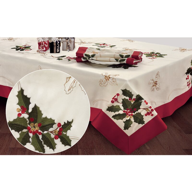 Holiday Holly Berries Embroidered Tablecloth