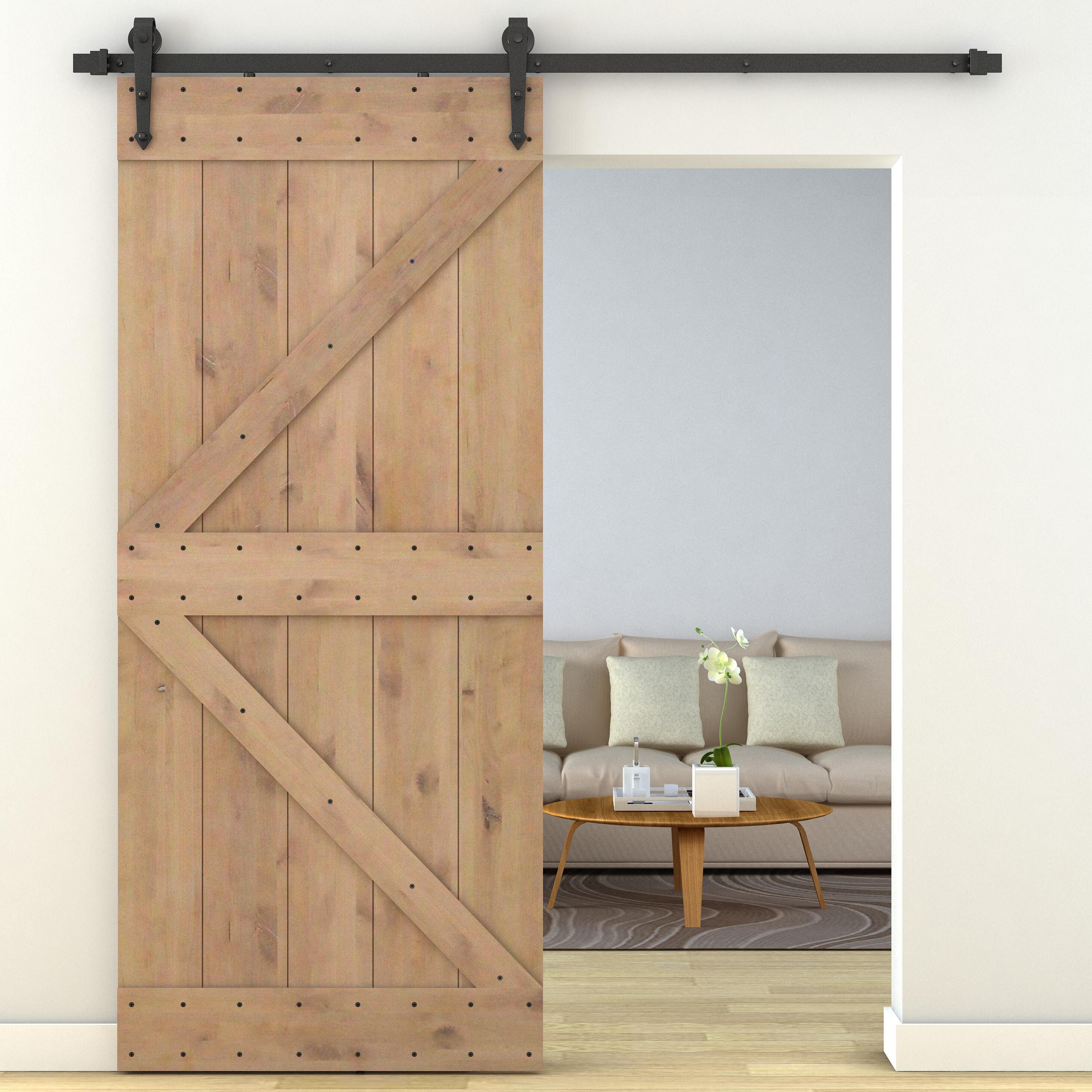 Calhome Primed Sliding Knotty Solid Wood Panelled Alder Interior Barn Door | Wayfair & Calhome Primed Sliding Knotty Solid Wood Panelled Alder Interior ...