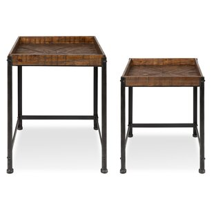 17 Stories Malachy Rustic-Modern Side Accent 2 Piece Nesting Tables