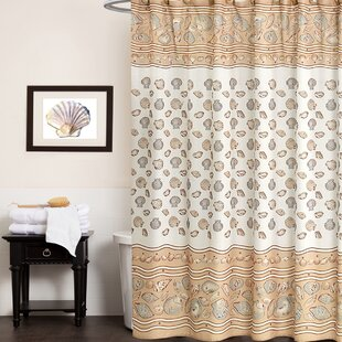 Sea Shell Fabric Shower Curtain by Sweet Home Collection