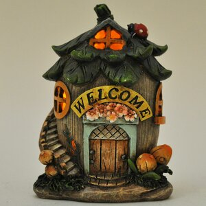 Mystical Fallen Nut Fairy Garden House with Stairs and LED Light Decoration