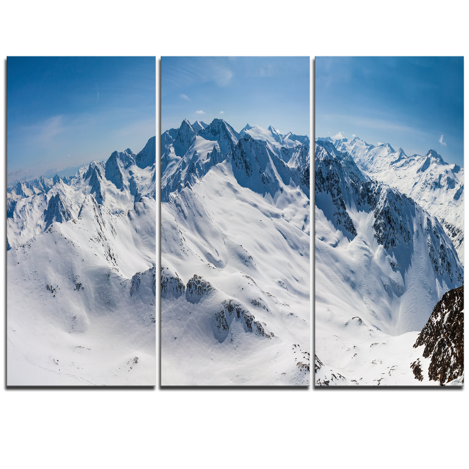 Designart Snowy Mountains Panoramic View 3 Piece Graphic Art On Wrapped Canvas Set Wayfair