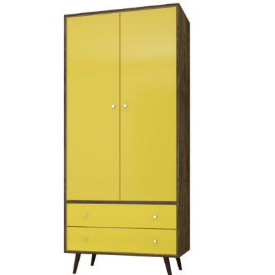 George Oliver Jabari Mid Century Modern Armoire Color: Rustic Brown/Yellow