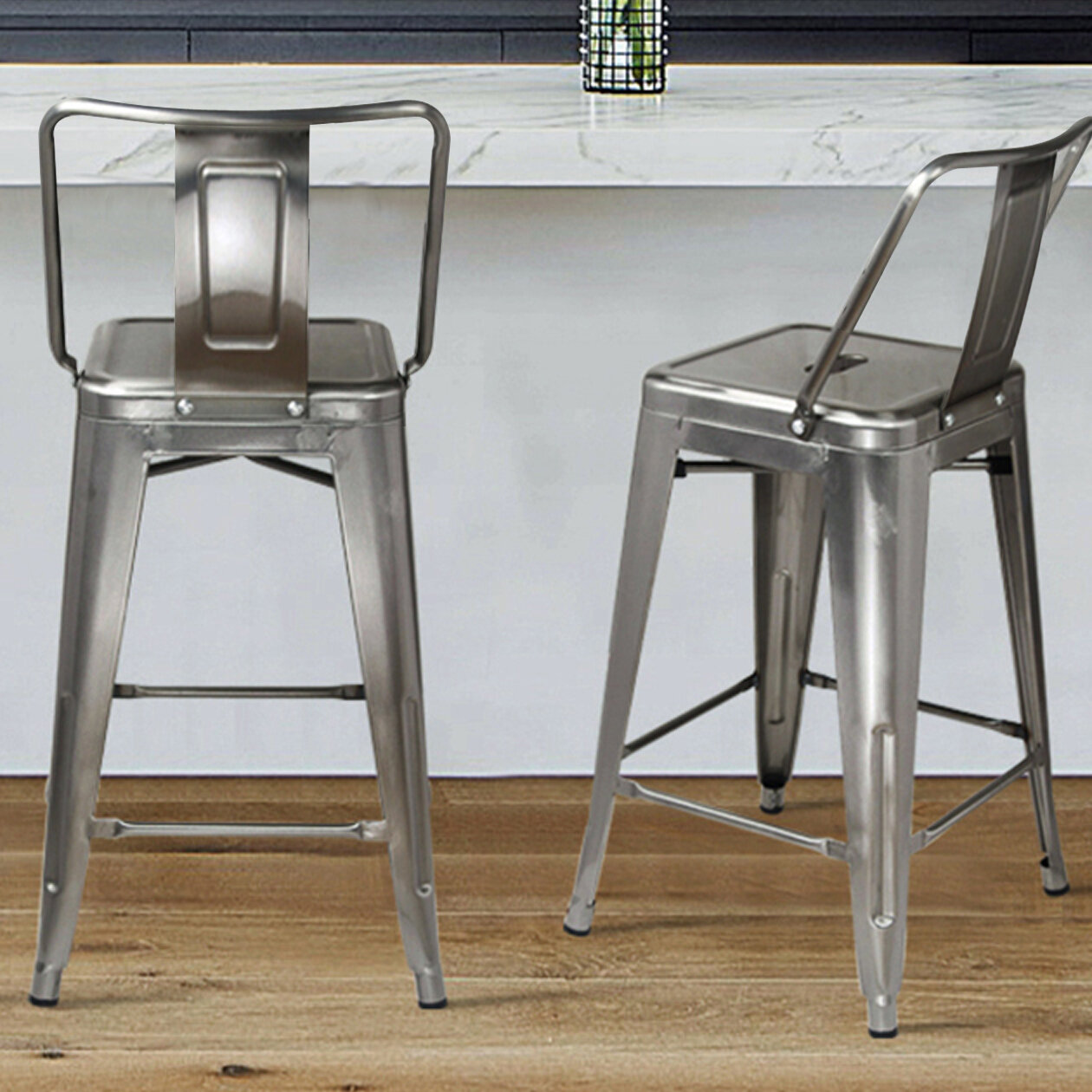Set of 4 Metal Steel 24/'/' Bar Stool High Counter Top Barstool Silver Seat Stools