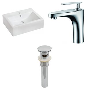 Great choice Ceramic 16 Wall Mount Bathroom Sink with Faucet and Overflow ByAmerican Imaginations