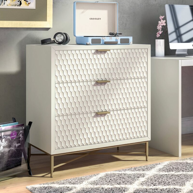 White Francesca 3 Drawer Chest by Modern Rustic Interiors