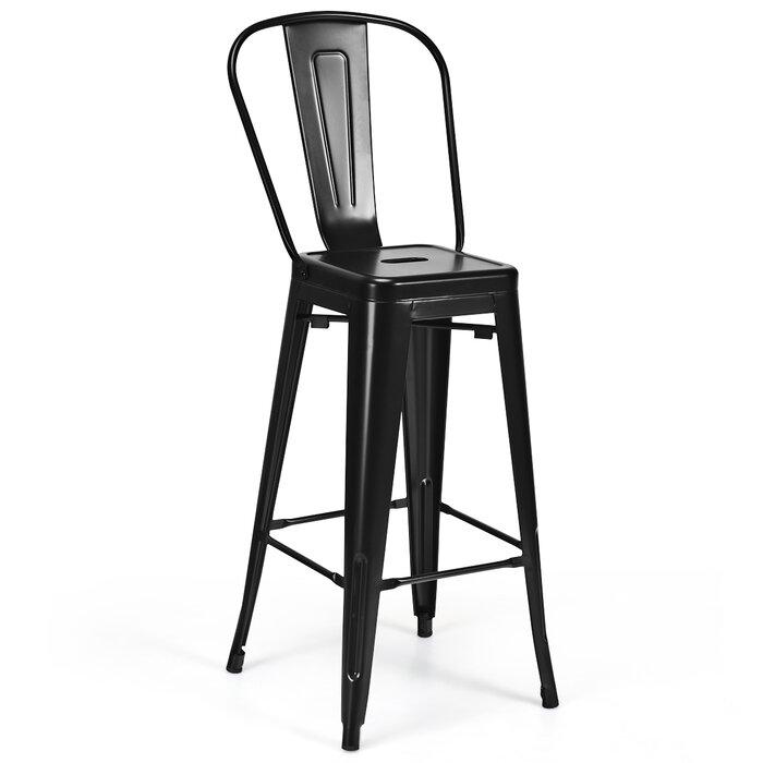Cool Amira Set Of 4 High Back Metal Stool 30 Seat Bar Height Industrial Bar Stools Gun Pabps2019 Chair Design Images Pabps2019Com