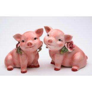 Piggy with Flower 2-Piece Salt & Pepper Set