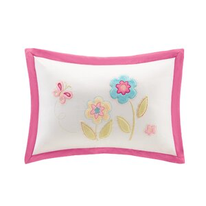 Alexis Plush Floral Applique and Embroidered Throw Pillow