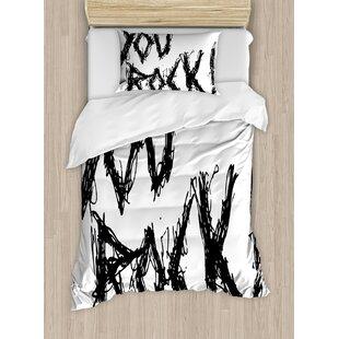 Quote Motivation Positive Day Inspiring ' You Rock ' Slogan Teenprint Duvet Set by East Urban Home