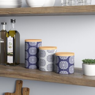 Ceramic 3 Piece Kitchen Canister Set