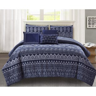 Bungalow Rose Grigg Print 100% Cotton 6 Piece Comforter Set