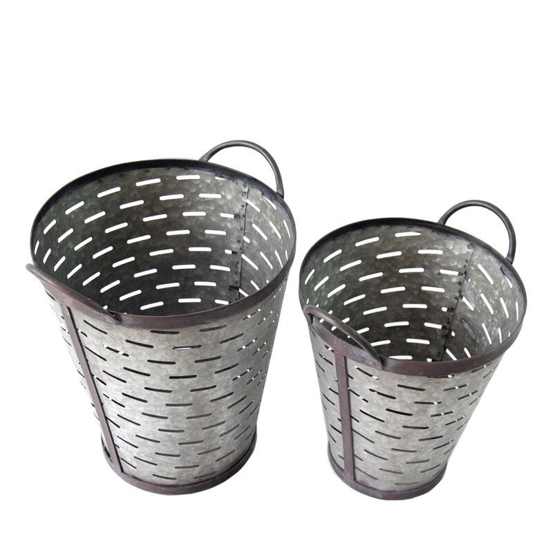 Galvanized Olive Metal/Wire 2 Piece Bucket Set
