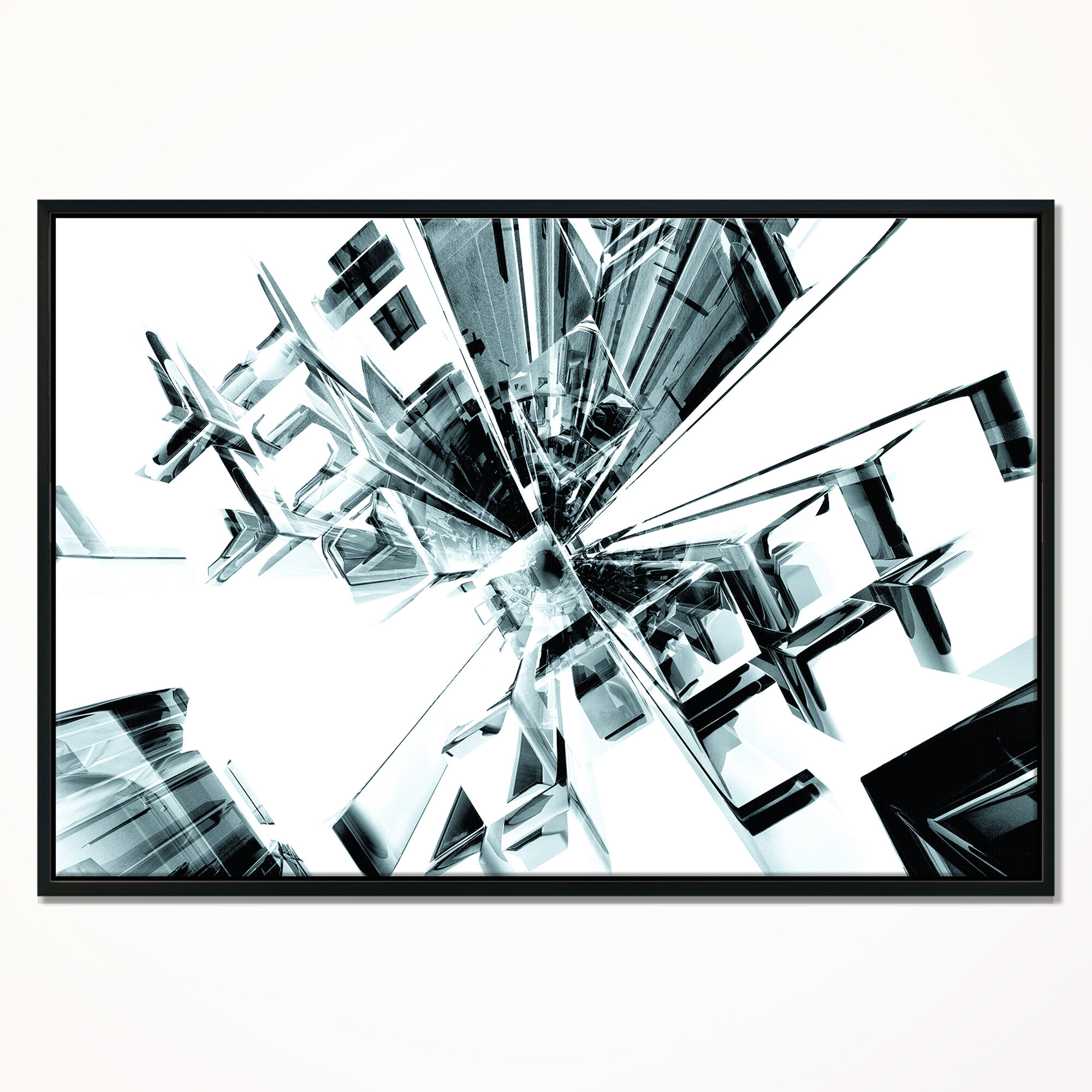 East Urban Home Abstract Fractal 3d Cubes Everywhere Framed Graphic Art Print On Wrapped Canvas Wayfair