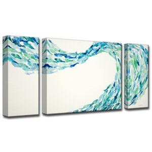 'Flow' by Norman Wyatt Jr. 3 Piece Painting Print on Wrapped Canvas Set