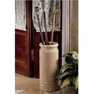 Design Toscano Solid Ivory Marble Cane and Umbrella Stand