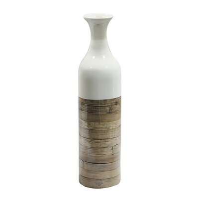 World Menagerie Jacque Floor Vase Color: White Glossy/Natural Bamboo Matte, Size: 23.62 H x 5.91 W x 5.91 D