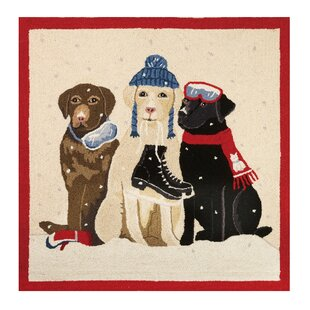 Shop For Dogs with Winter Gear Hook Beige/Black Area Rug ByMary Lake Thompson