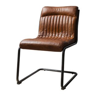 Soderquist Genuine Leather Upholstered Dining Chair
