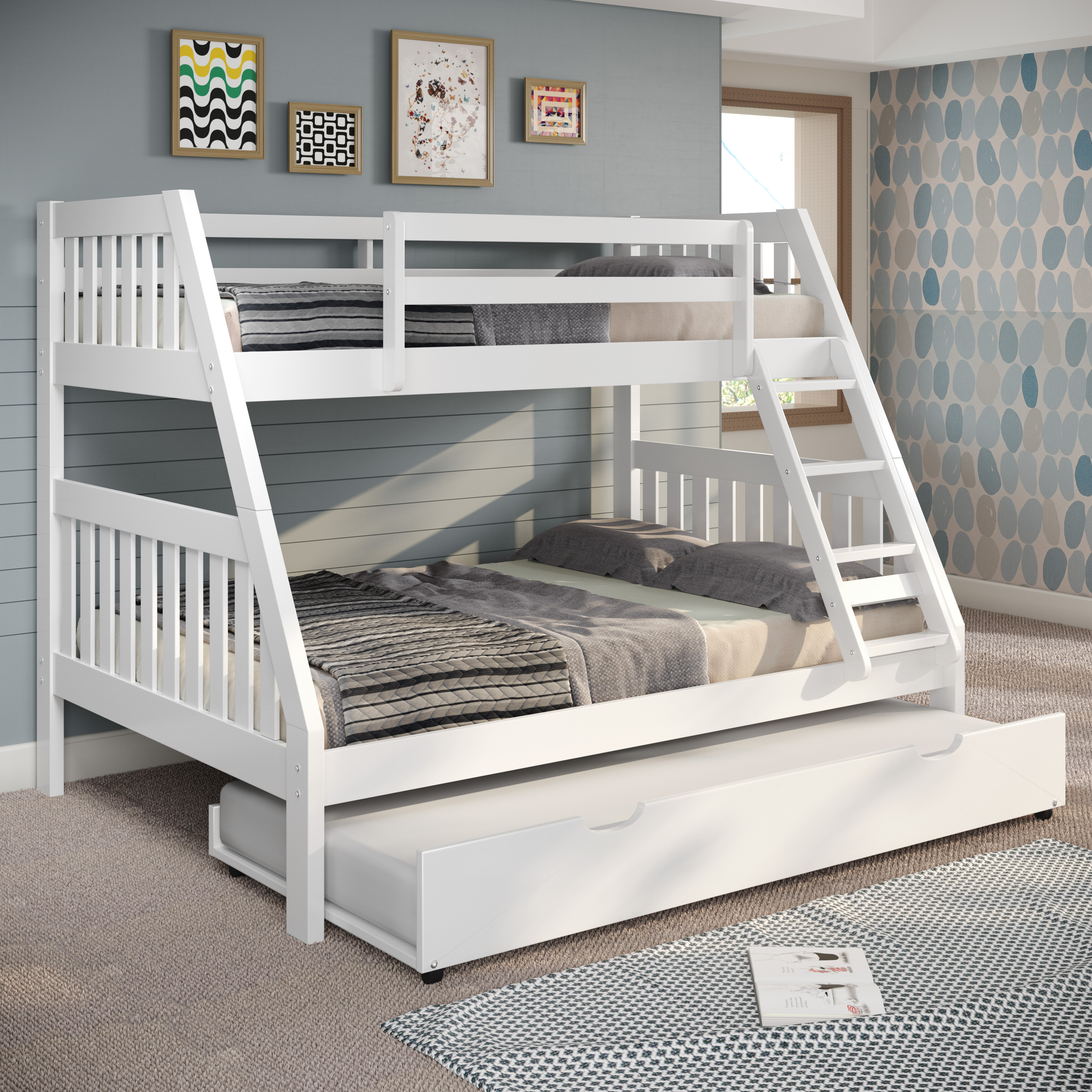 Picture of: Chelsea Home Mission Twin Over Full Bunk Bed With Trundle And Ladder Reviews