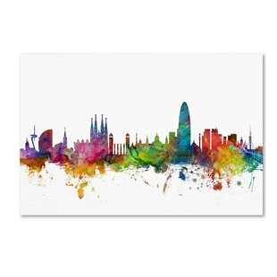 Valence Skyline Imprimé Poster Aquarelle Encadrée Toile Wall Art ville Espagne