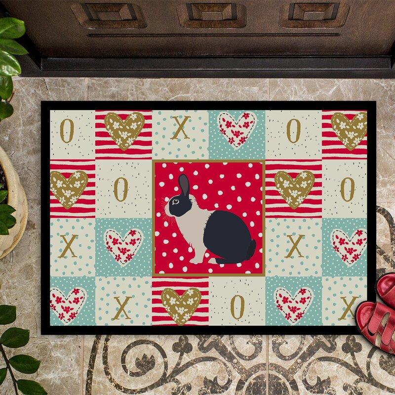 The Holiday Aisle Elko Dutch Rabbit Love 27 In X 18 In Non Slip Indoor Outdoor Door Mat Wayfair