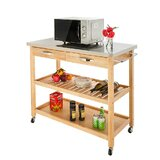 Rooling Kitchen Cart with Stainless Steel Top by Prep & Savour