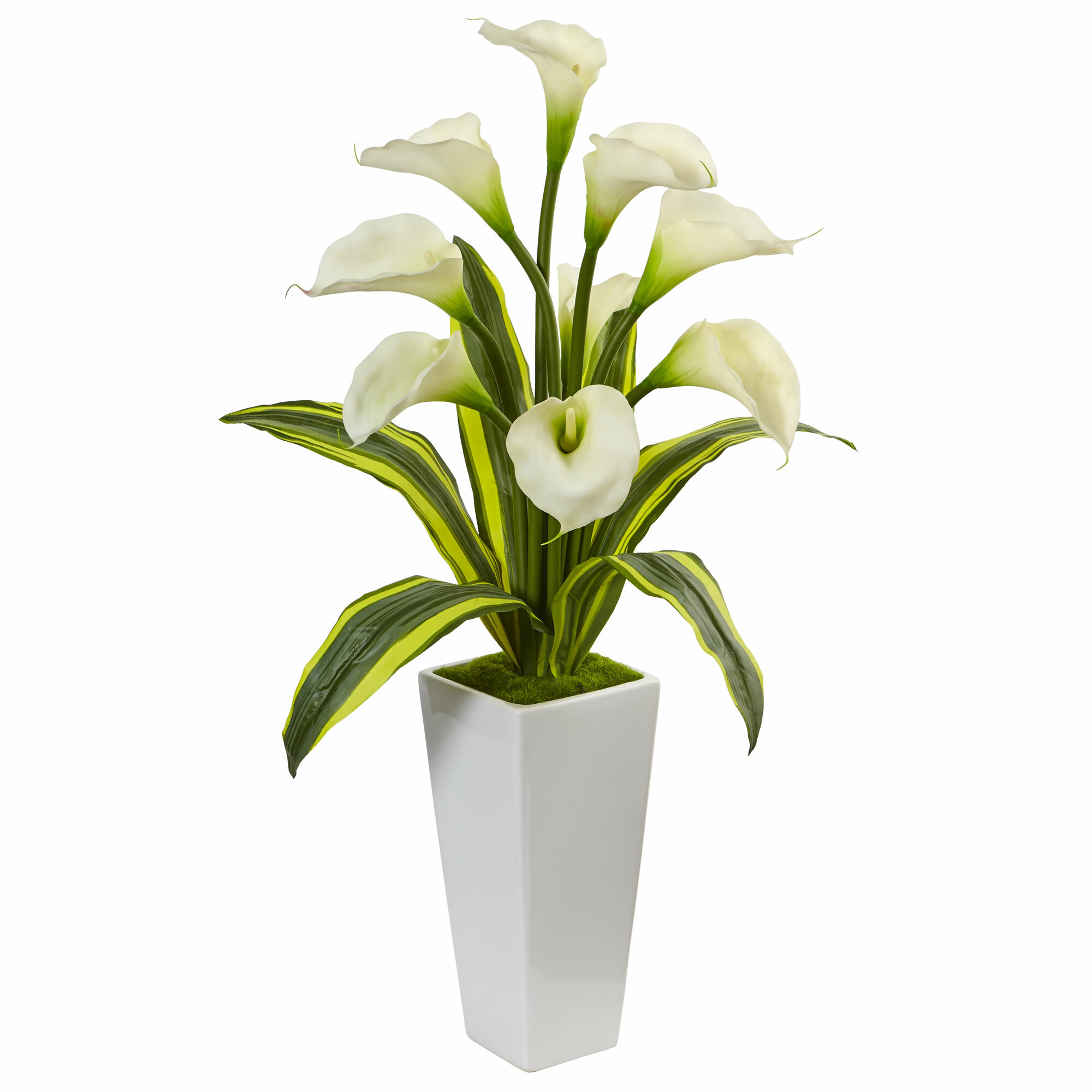 Bay Isle Home Silk Calla Tropical Leaves Lilies Floral Arrangement