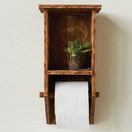 Casual Country Fir Wood Wall Mount Toilet Paper Holder With Shelf