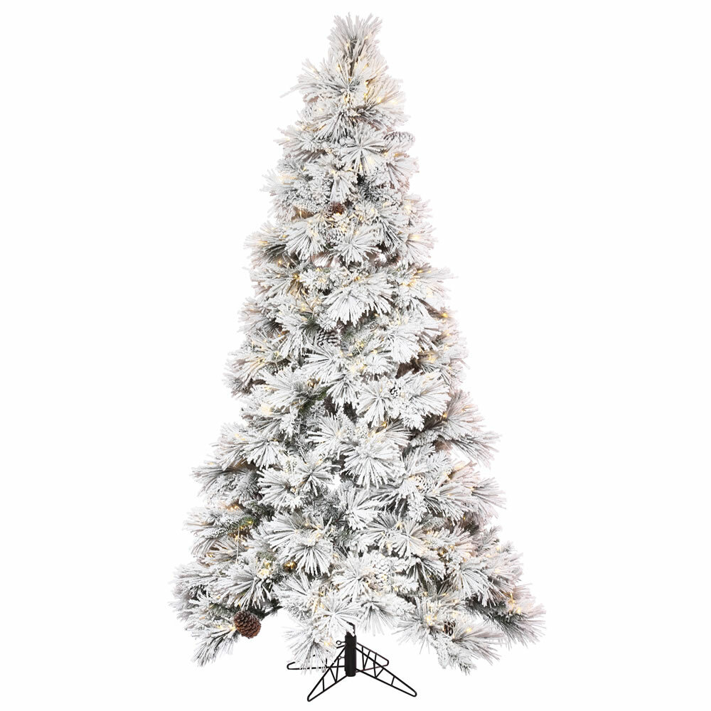 The Holiday Aisle 12' Flocked White/Green Artificial Christmas Tree with 2550 LED Clear/White Lights with Stand | Wayfair
