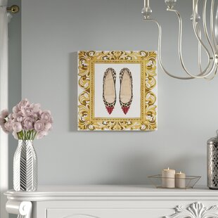 Gentil Rococco Leopard Heels Framed Graphic Art Print On Wrapped Canvas