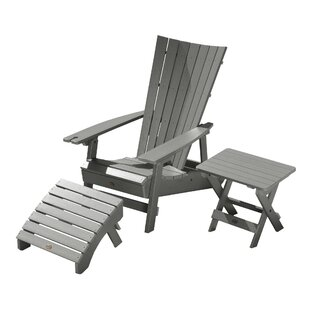 Breakwater Bay Deutsch Plastic Adirondack Chair with Table and Ottoman