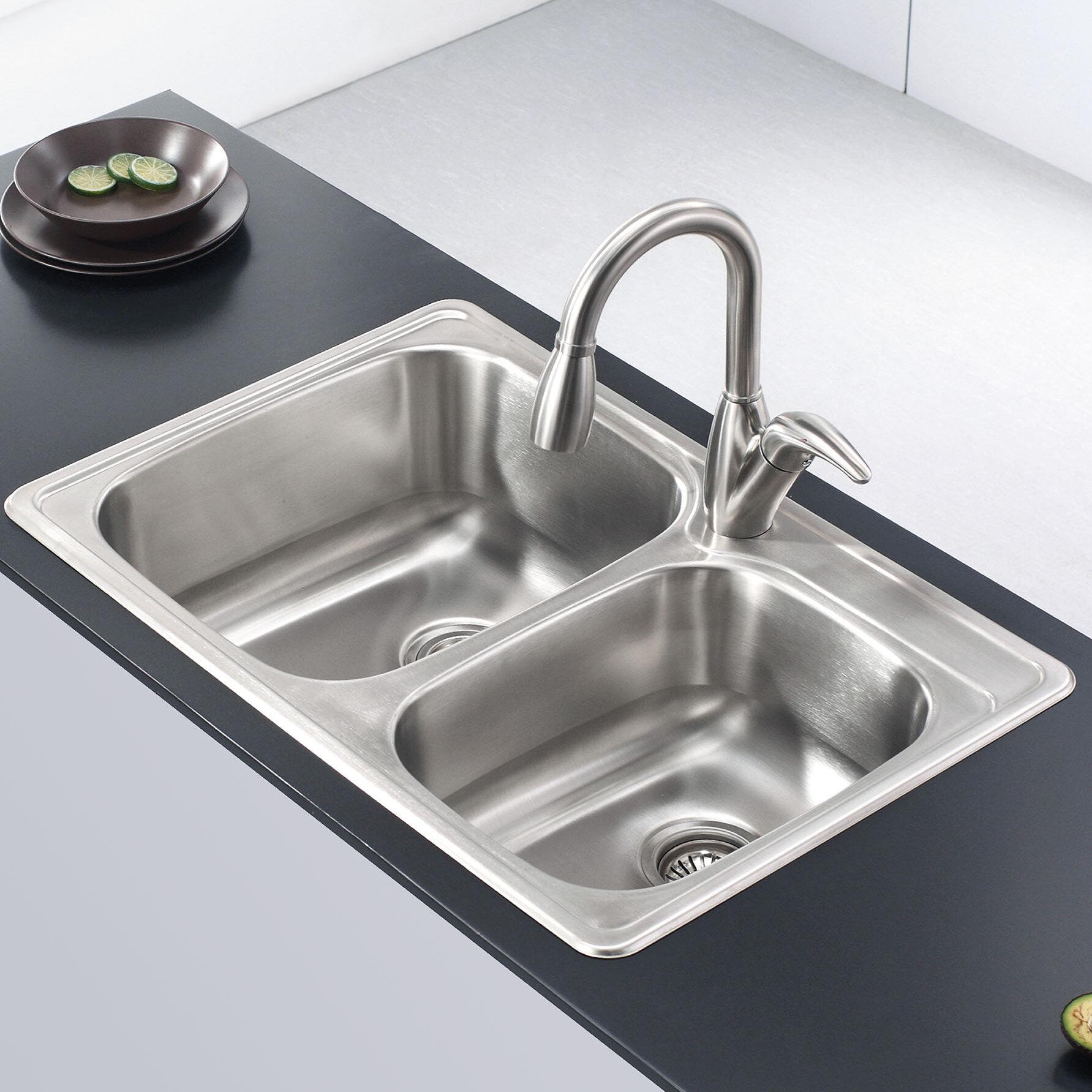 Stainless steel 33 l x 22 w double basin drop in kitchen sink reviews joss main
