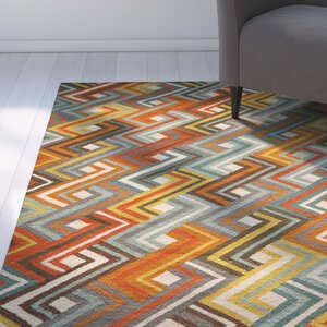 Dixmoor Hooked Blue/Orange Area Rug