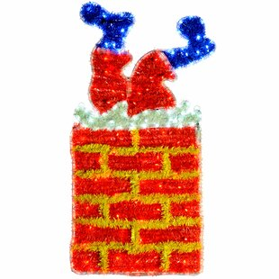 Santa Stuck In The Chimney Flashing 70 Light LED Rope Light Image