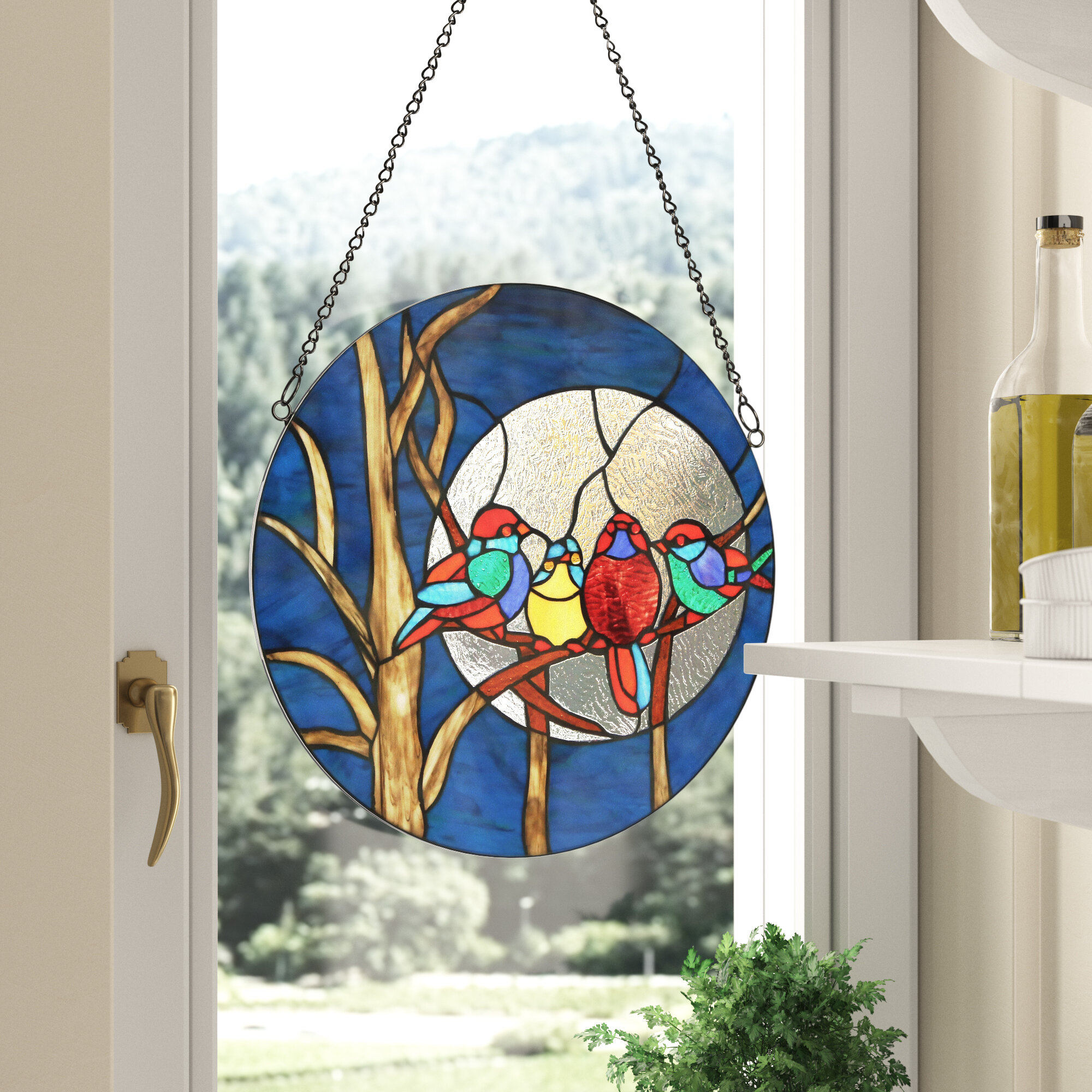 Charlton Home Birds In The Night Sky Round Stained Glass Window Panel Reviews Wayfair