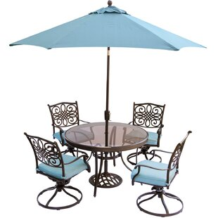 Three Posts Lauritsen 5 Piece Dining Set with Cushions and Umbrella