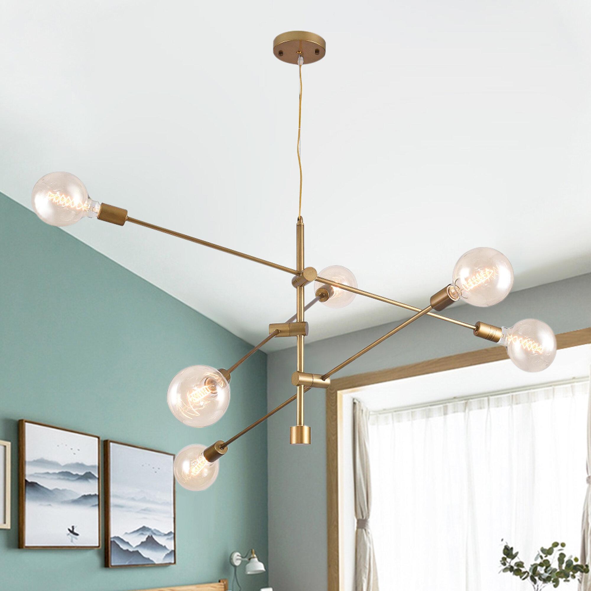 Wrought Studio Schulman 6 Light Sputnik Modern Linear Chandelier Reviews Wayfair