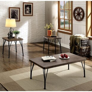 Williston Forge Cherry Industrial Wooden Top 3 Piece Coffee Table Set
