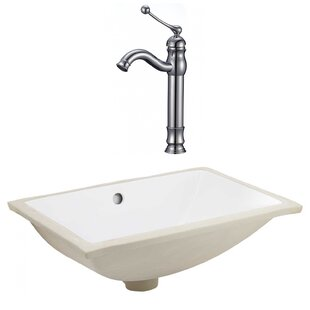 Affordable CSA Ceramic Rectangular Undermount Bathroom Sink with Faucet and Overflow ByRoyal Purple Bath Kitchen