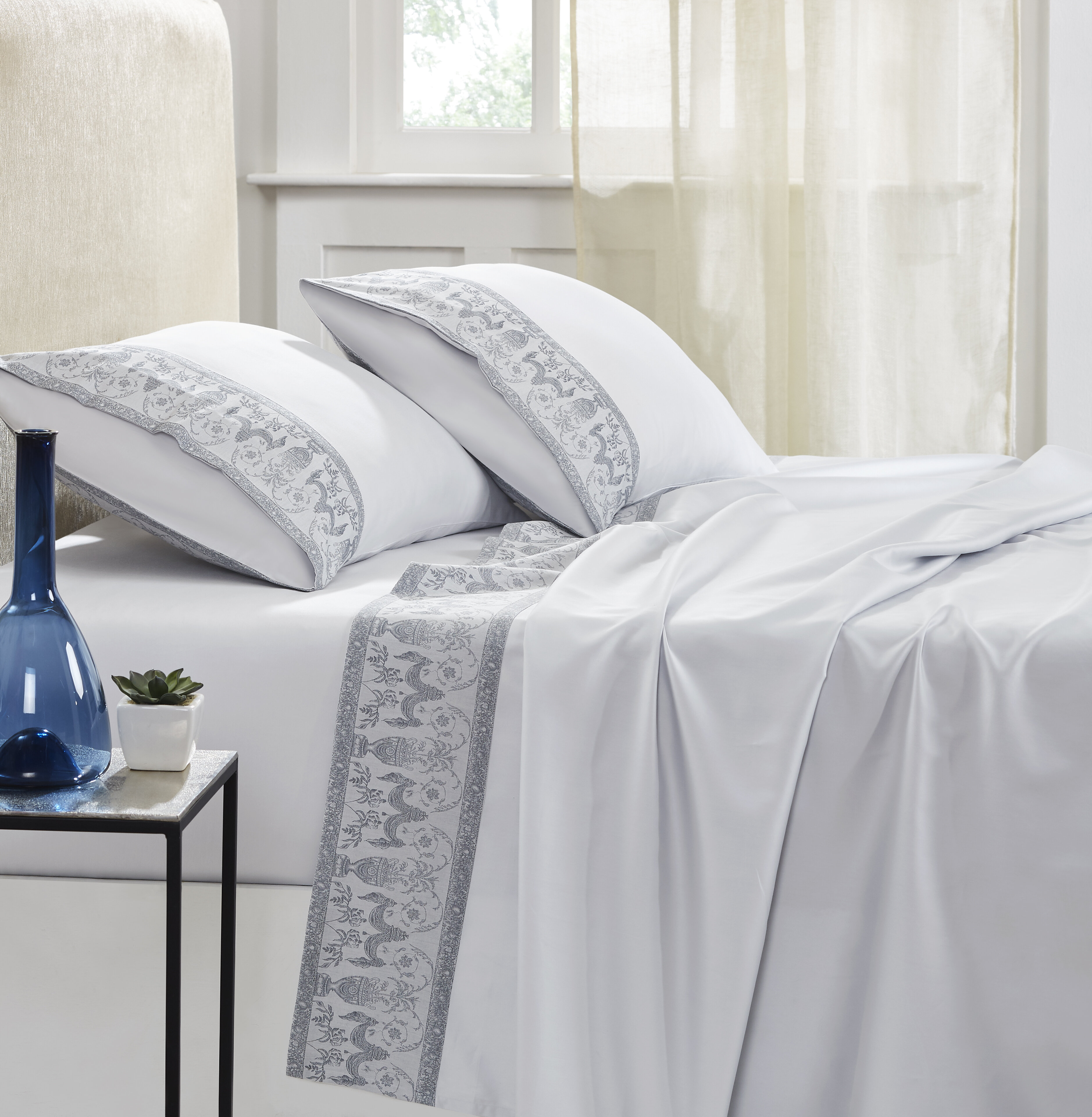 Orchid Lux Home Promenade 300 Thread Count 100 Cotton Fitted Sheet Wayfair