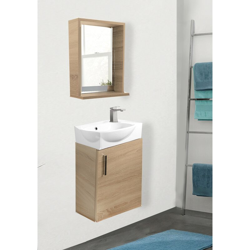 Latitude Run Aney 20 Wall Mounted Single Bathroom Vanity Set With Mirror Reviews Wayfair