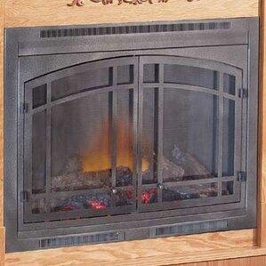 pewter fireplace door kit