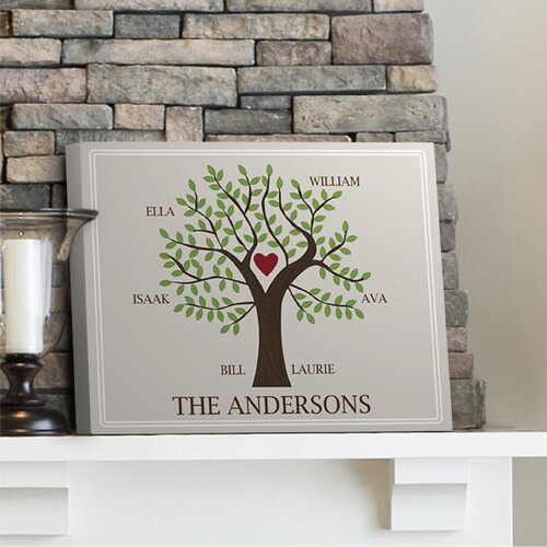 JDS Personalized Gifts Personalized Gift Family Tree Graphic Art on Canvas u0026 Reviews   Wayfair & JDS Personalized Gifts Personalized Gift Family Tree Graphic Art on ...